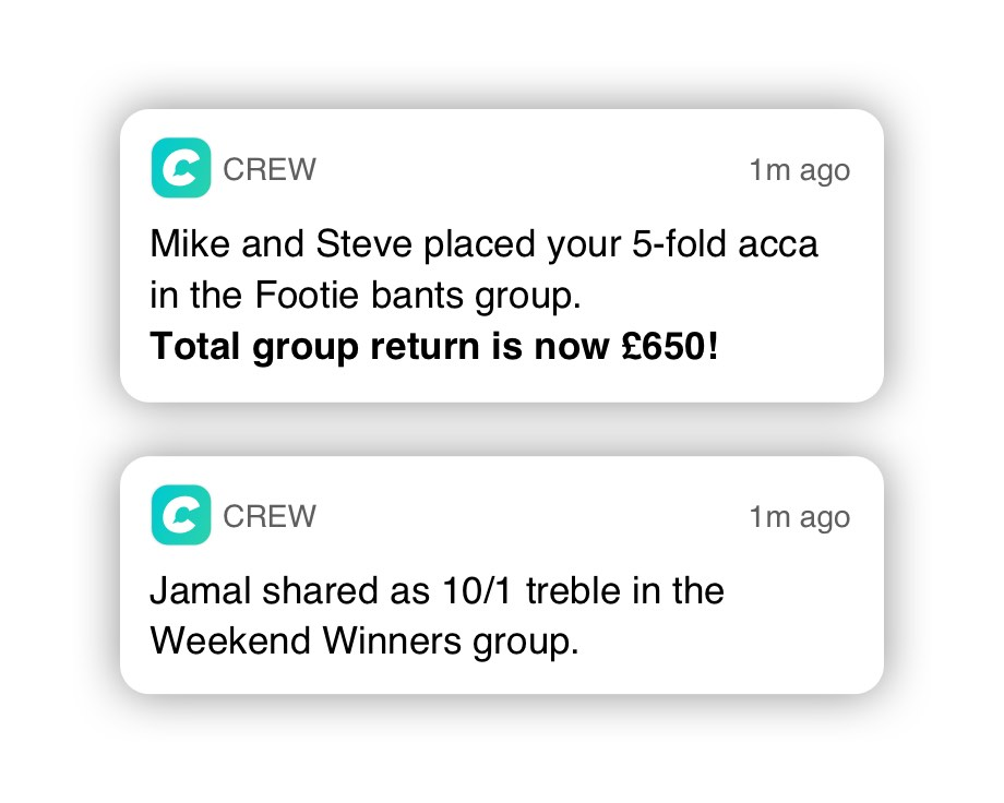 Crew Bet | A Messenger App to Bet & Chat with friends using